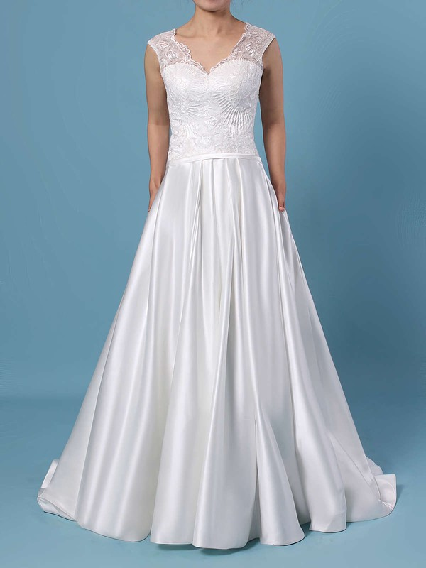 Ball Gown V-neck Lace Satin Sweep Train Pockets Wedding Dresses #PDS00023403