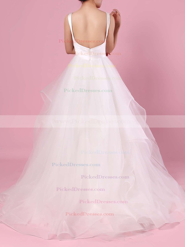Ball Gown V-neck Organza Tulle Floor-length Cascading Ruffles Wedding Dresses #PDS00023407