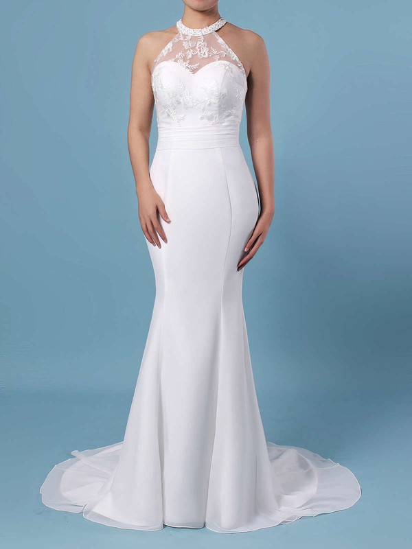 Trumpet/Mermaid Scoop Neck Chiffon Tulle Sweep Train Embroidered Wedding Dresses #PDS00023408