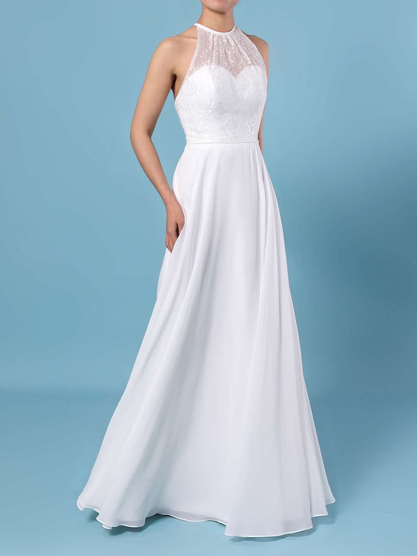 A-line Scoop Neck Chiffon Floor-length Lace Wedding Dresses #PDS00023409