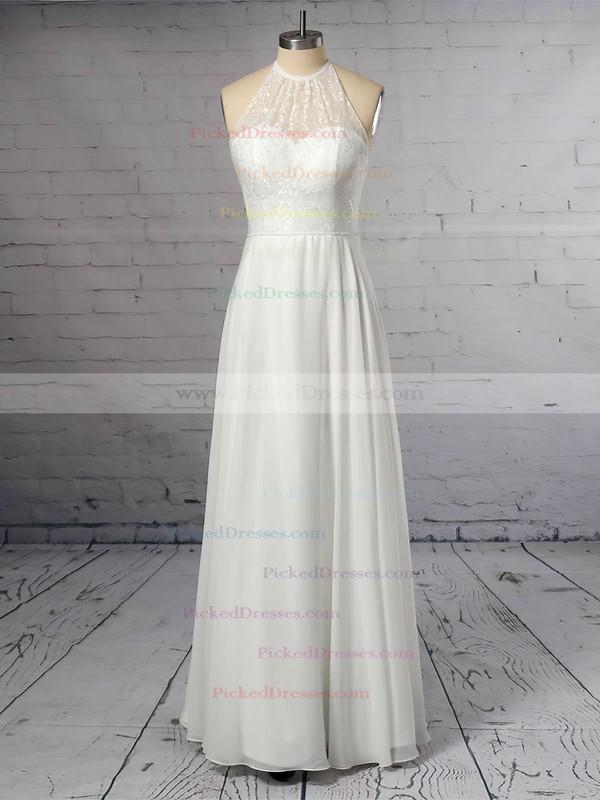 A-line Scoop Neck Chiffon Floor-length Lace Wedding Dresses #PDS00023409