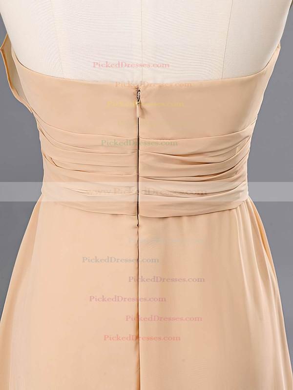 Designer Champagne Chiffon Floor-length Halter Bridesmaid Dresses #PDS02020059