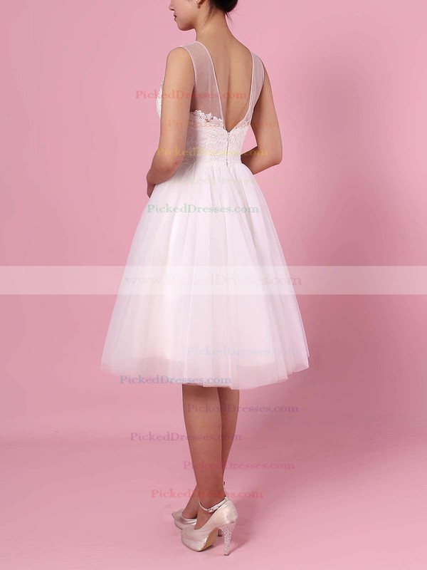 A-line Scoop Neck Tulle Knee-length Appliques Lace Wedding Dresses #PDS00023419