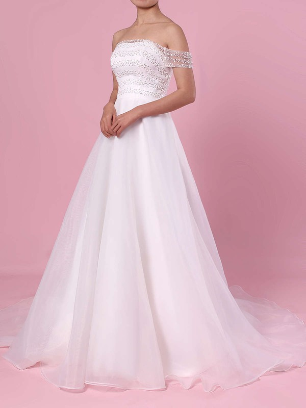 Princess Off-the-shoulder Organza Tulle Sweep Train Sequins Wedding Dresses #PDS00023423