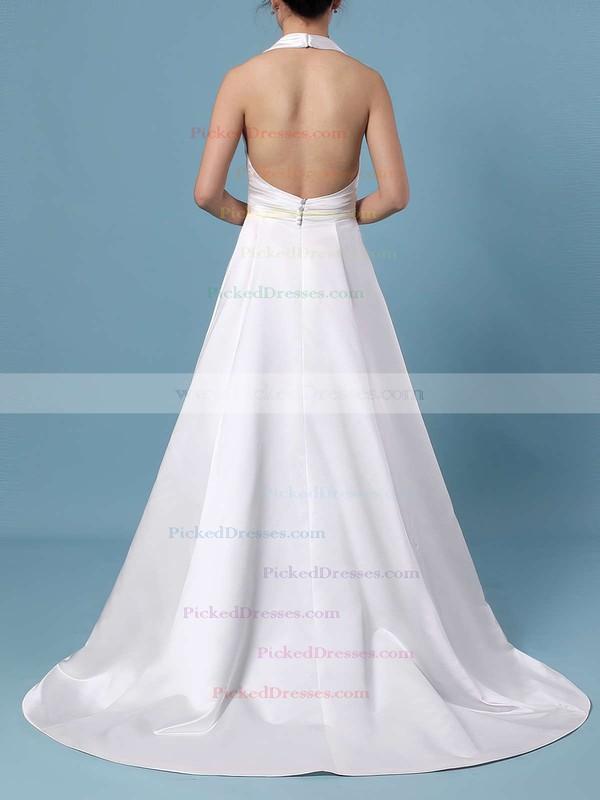 Ball Gown Halter Satin Sweep Train Ruffles Wedding Dresses #PDS00023424