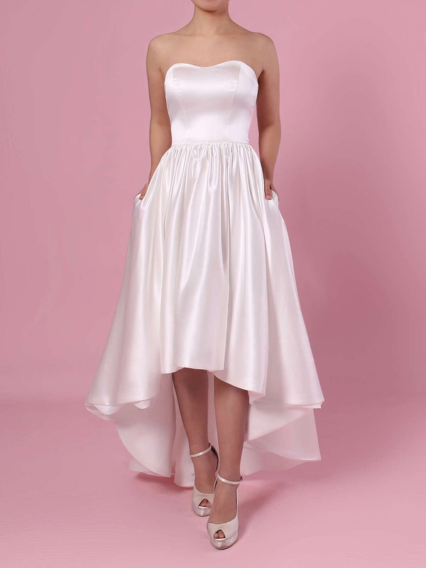 Princess Strapless Satin Asymmetrical Pockets Wedding Dresses #PDS00023426