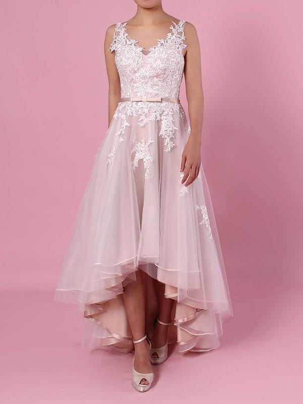 A-line V-neck Tulle Asymmetrical Appliques Lace Wedding Dresses #PDS00023427