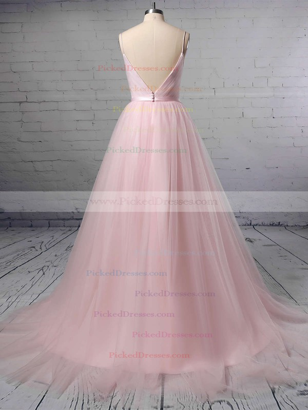 A-line V-neck Tulle Sweep Train Sashes / Ribbons Wedding Dresses #PDS00023430