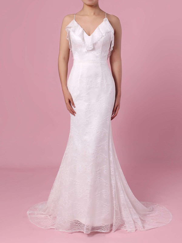 Sheath/Column V-neck Lace Sweep Train Wedding Dresses #PDS00023439