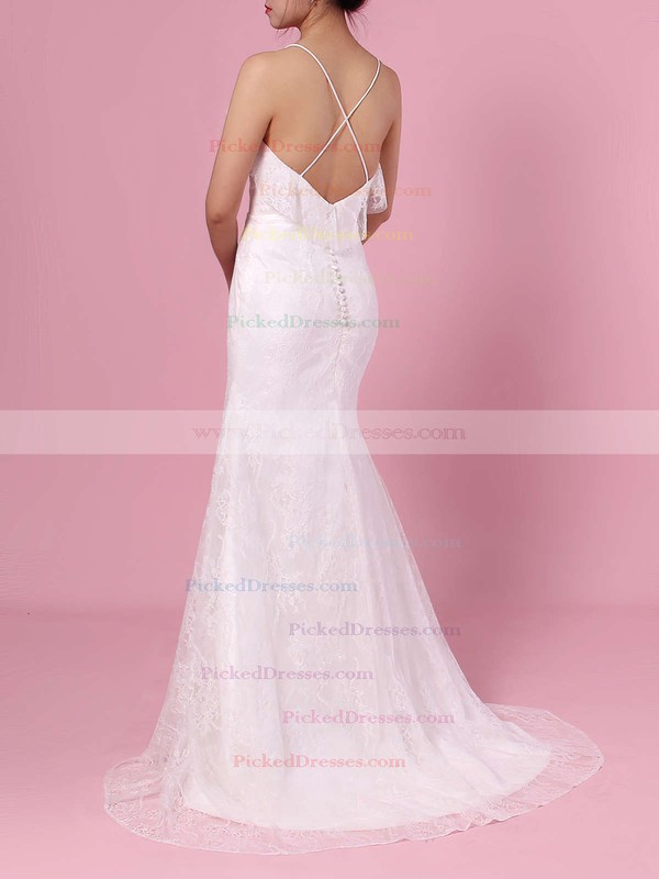 Sheath/Column V-neck Lace Sweep Train Wedding Dresses #PDS00023439