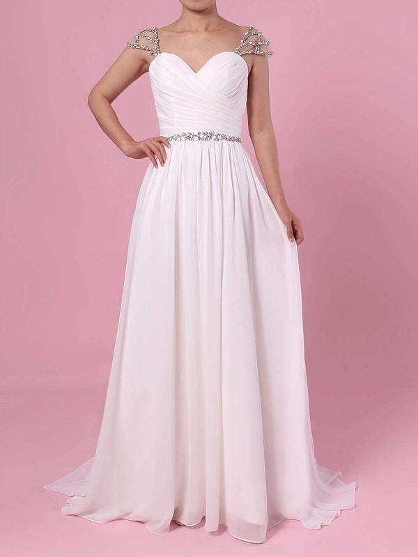 A-line V-neck Chiffon Sweep Train Beading Wedding Dresses #PDS00023441