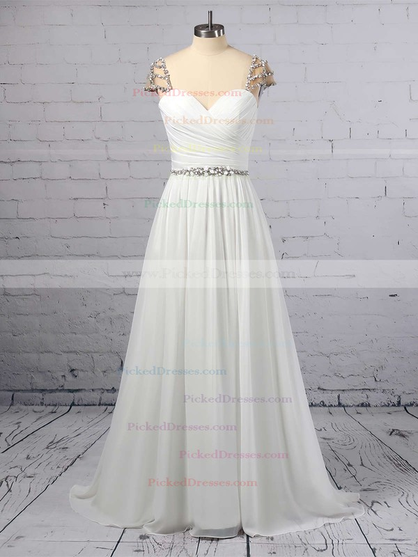 A-line V-neck Chiffon Sweep Train Beading Wedding Dresses #PDS00023441
