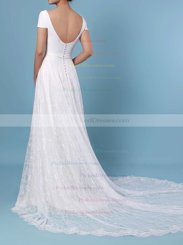 A-line Scoop Neck Lace Sweep Train Sashes / Ribbons Wedding Dresses #PDS00023448