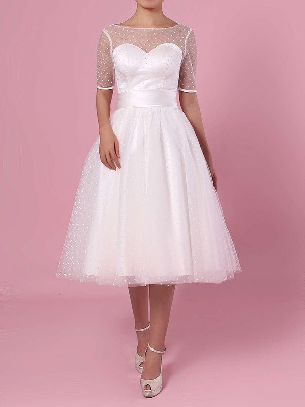 Princess Scoop Neck Tulle Tea-length Bow Wedding Dresses #PDS00023451