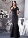 Satin Trumpet/Mermaid V-neck Floor-length Appliques Mother of the Bride Dresses #PDS02012943