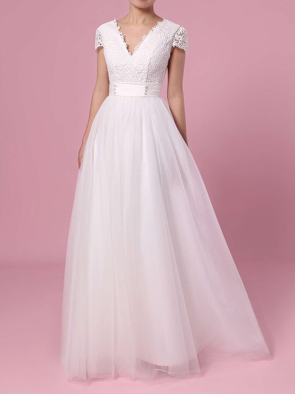 A-line V-neck Lace Tulle Sweep Train Sashes / Ribbons Wedding Dresses #PDS00023453