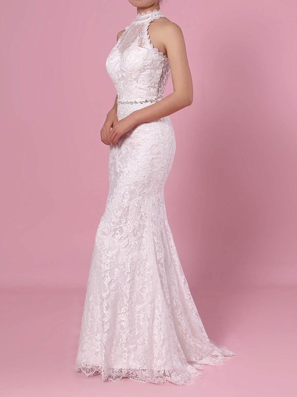 Sheath/Column High Neck Lace Floor-length Lace Wedding Dresses #PDS00023454