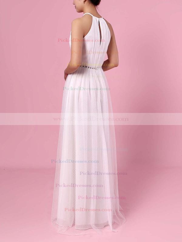 A-line Scoop Neck Tulle Floor-length Wedding Dresses #PDS00023455