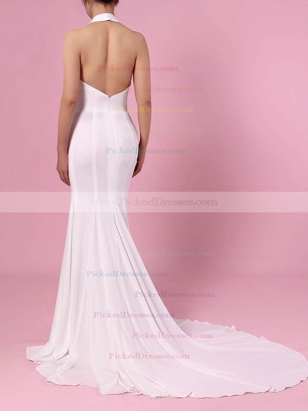 Trumpet/Mermaid Halter Satin Sweep Train Wedding Dresses #PDS00023460