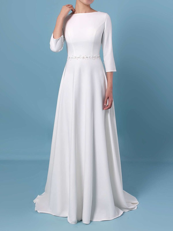 A-line Scoop Neck Satin Sweep Train Sashes / Ribbons Wedding Dresses #PDS00023461