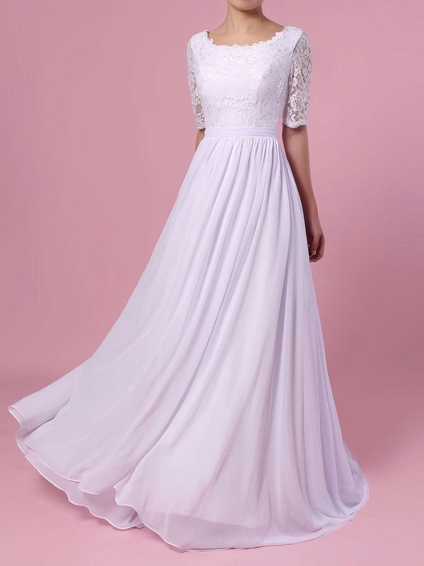 A-line Scoop Neck Lace Chiffon Sweep Train Sashes / Ribbons Wedding Dresses #PDS00023464