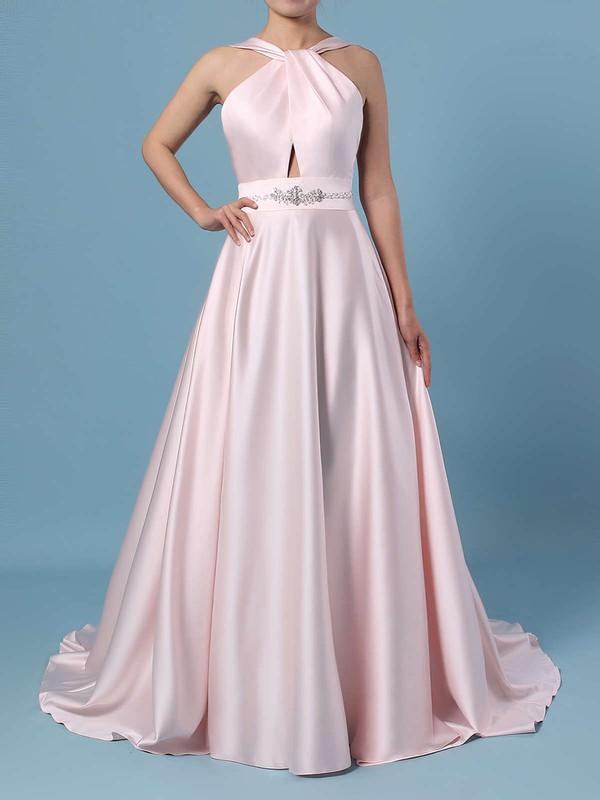 Ball Gown Halter Satin Sweep Train Beading Wedding Dresses #PDS00023465