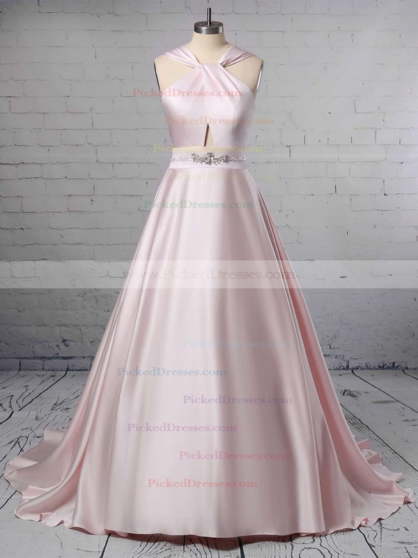 Ball Gown Halter Satin Sweep Train Beading Wedding Dresses #PDS00023465
