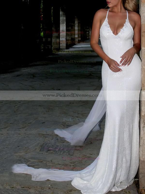 Lace Sequined Trumpet/Mermaid V-neck Watteau Train Appliques Lace Wedding Dresses #PDS00023467