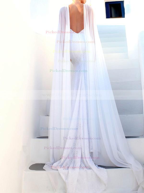Lace Trumpet/Mermaid Scoop Neck Sweep Train Appliques Lace Wedding Dresses #PDS00023468