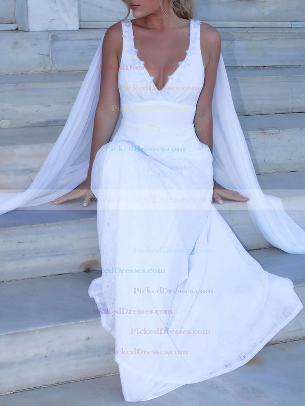 Lace Chiffon A-line V-neck Sweep Train Appliques Lace Wedding Dresses #PDS00023469