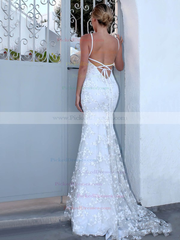 Lace Trumpet/Mermaid V-neck Sweep Train Appliques Lace Wedding Dresses #PDS00023470