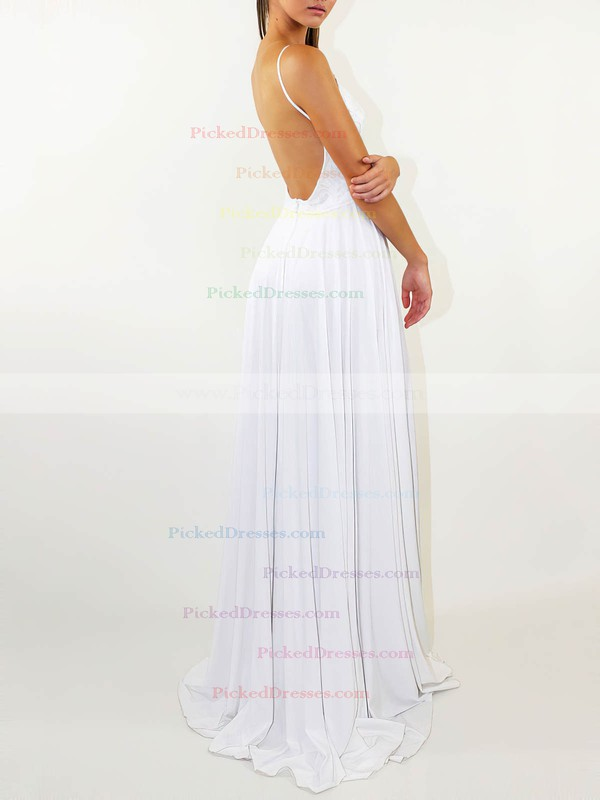 Lace Silk-like Satin A-line Scoop Neck Sweep Train Split Front Wedding Dresses #PDS00023471