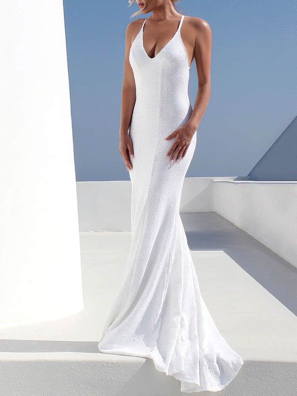 Sequined Trumpet/Mermaid V-neck Sweep Train Wedding Dresses #PDS00023473