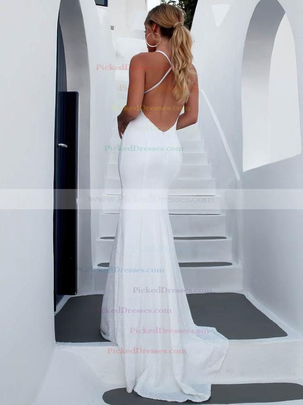 Sequined Trumpet/Mermaid V-neck Sweep Train Wedding Dresses #PDS00023473