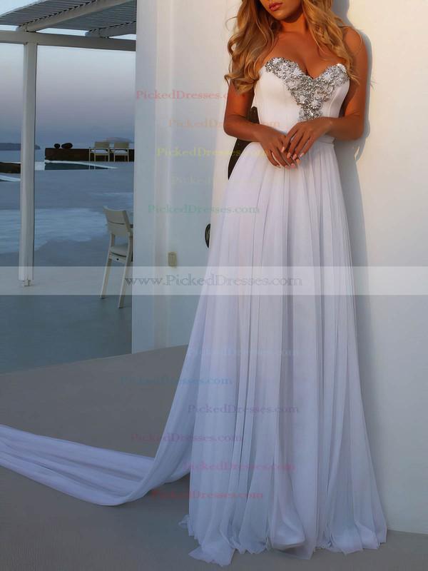Chiffon A-line Sweetheart Watteau Train Beading Wedding Dresses #PDS00023474