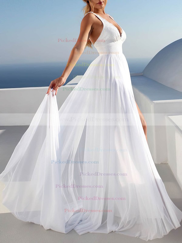 Chiffon A-line V-neck Sweep Train Appliques Lace Wedding Dresses #PDS00023475