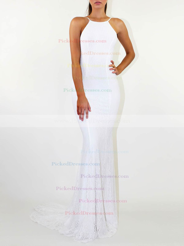Lace Sheath/Column Scoop Neck Sweep Train Wedding Dresses #PDS00023476