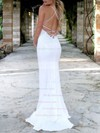 Sequined Trumpet/Mermaid V-neck Sweep Train Appliques Lace Wedding Dresses #PDS00023477