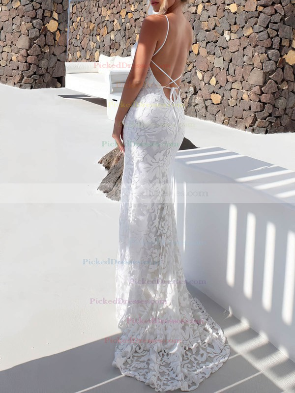 Lace Trumpet/Mermaid Scoop Neck Sweep Train Wedding Dresses #PDS00023479