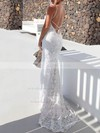 Lace Trumpet/Mermaid Scoop Neck Sweep Train Wedding Dresses #PDS00023479