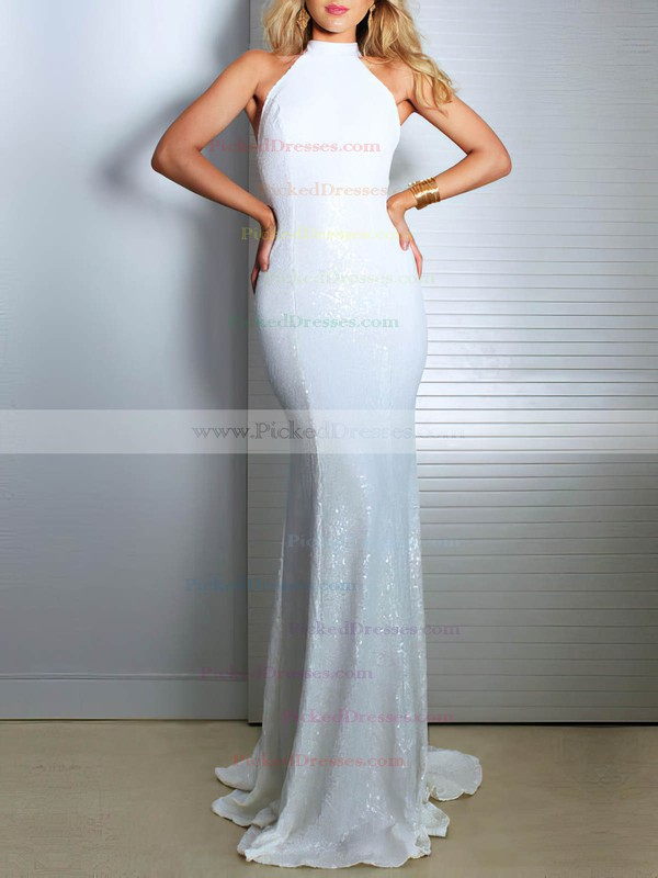 Sequined Trumpet/Mermaid High Neck Sweep Train Wedding Dresses #PDS00023480
