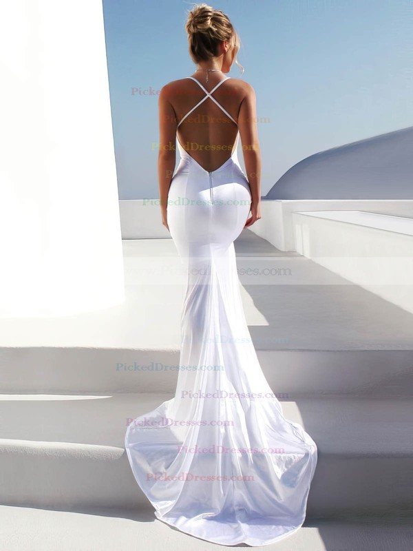 Satin Trumpet/Mermaid V-neck Sweep Train Ruffles Wedding Dresses #PDS00023481