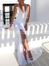 Satin Trumpet/Mermaid V-neck Sweep Train Ruffles Wedding Dresses #PDS00023481