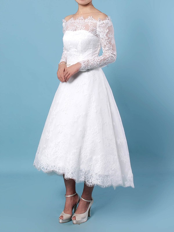 Ball Gown Off-the-shoulder Tea-length Lace Beading Wedding Dresses #PDS00023273