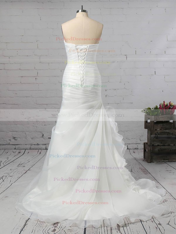 Trumpet/Mermaid Sweetheart Sweep Train Chiffon Ruched Wedding Dresses #PDS00023291