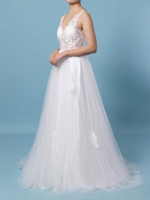 A-line V-neck Floor-length Tulle Appliques Lace Wedding Dresses #PDS00023352