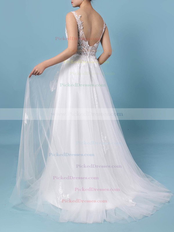A-line V-neck Floor-length Tulle Appliques Lace Wedding Dresses #PDS00023352