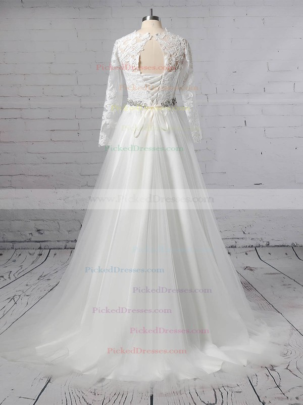 Ball Gown Scoop Neck Sweep Train Tulle Appliques Lace Wedding Dresses #PDS00023354