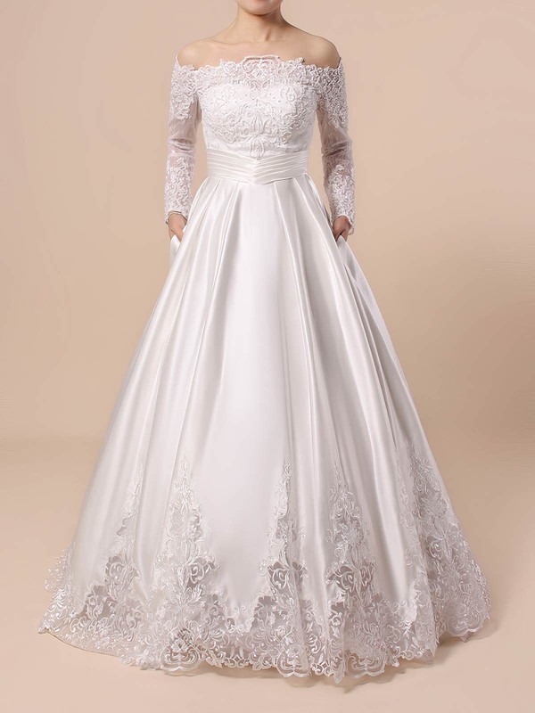 Ball Gown Off-the-shoulder Floor-length Lace Satin Beading Wedding Dresses #PDS00023376