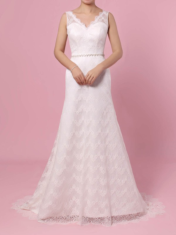 Trumpet/Mermaid V-neck Sweep Train Lace Sashes / Ribbons Wedding Dresses #PDS00023378